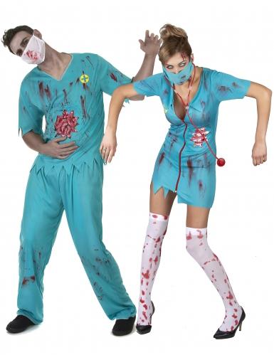 Vestito di coppia medici zombie Halloween