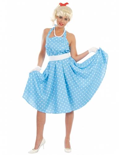 on sale 7eb47 9a427 Costume anni 50 azzurro a pois per donna