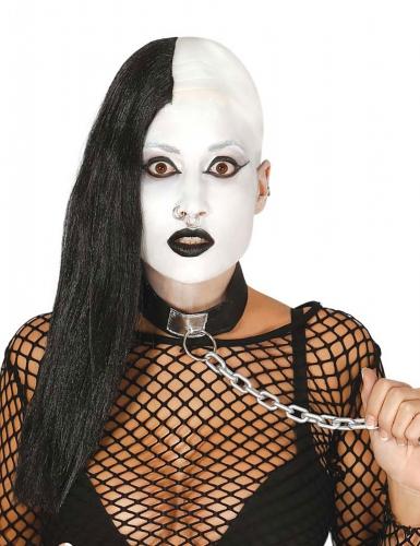 Parrucca punk nera cranio rasato per adulto