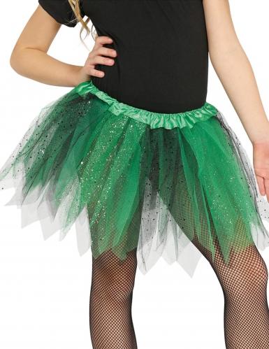 Tutù nero e verde con brillantini da bambina