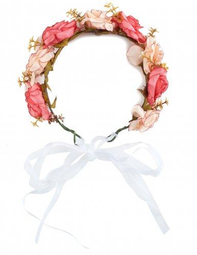 Corosa di rose e fiori bianchi per adulto-1