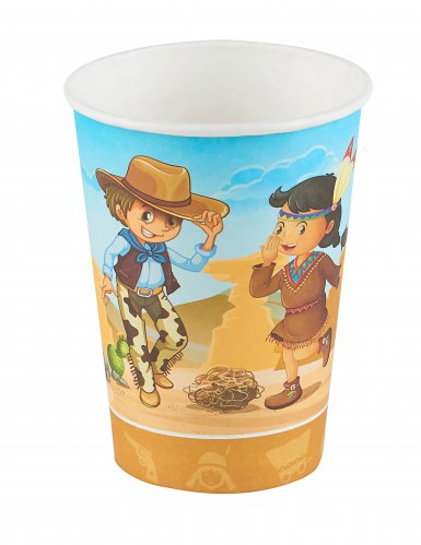 6 Bicchieri Cowboy e indiani 25 cl