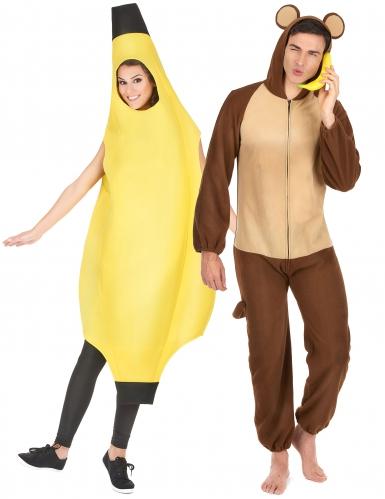 Costume di coppia banana e scimmia per adulto