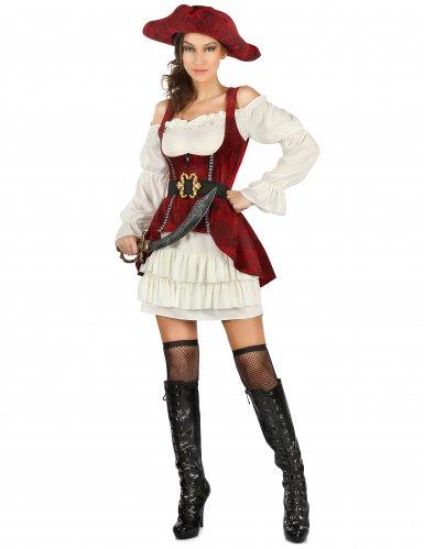 competitive price 713f2 8a08e Costume da pirata bianco e rosso per donna