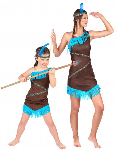 Costume da coppia indiani marroni mamma e figlia