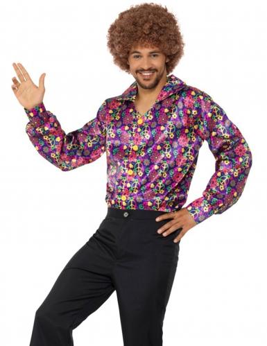 Camicia hippie peace & love fiorata adulto