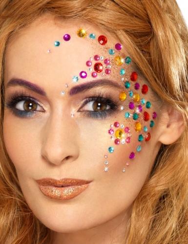 100 strass per viso multicolori