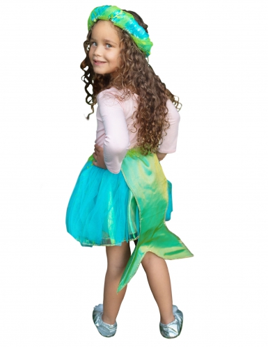 Gonna da sirena azzurro e verde con corona per bambina-1