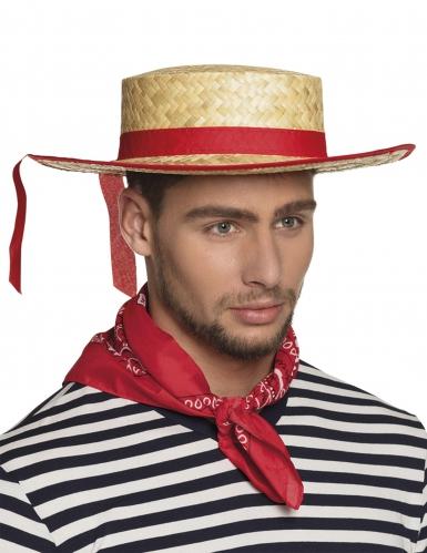 Cappello da gondoliere da fascia rossa per adulto