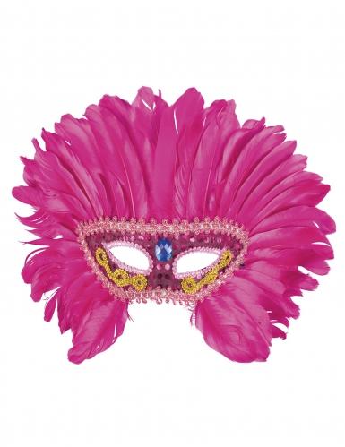 Mascherina veneziana con piume rosa per donna-1