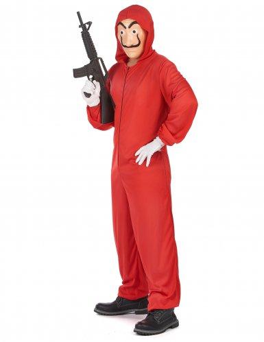 Costume tuta rossa da rapinatore artista per adulto-1