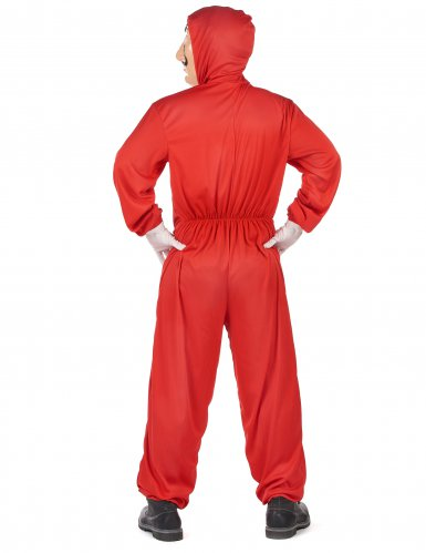 Costume tuta rossa da rapinatore artista per adulto-2