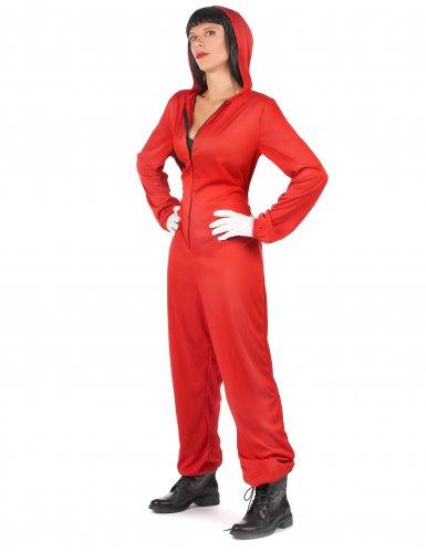 Costume tuta rossa da rapinatore artista per adulto-4
