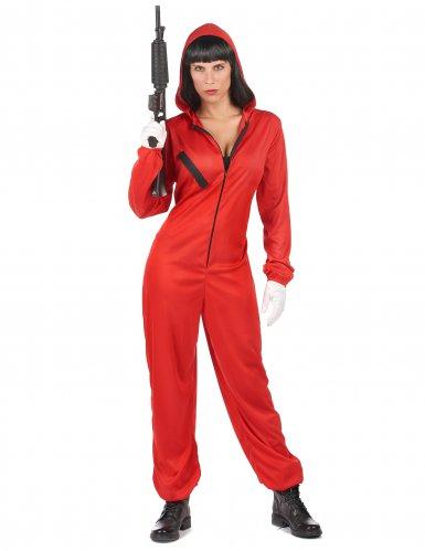Costume tuta rossa da rapinatore artista per adulto-5