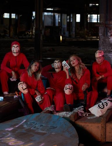 Costume tuta rossa da rapinatore artista per adulto-6