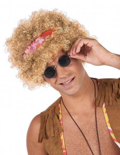 Parrucca hippie afro bionda per adulto
