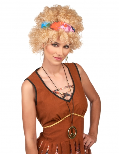 Parrucca hippie afro bionda per adulto-1