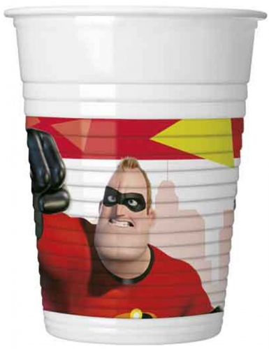 8 Bicchieri in plastica Gli Incredibili 2™ 200 ml