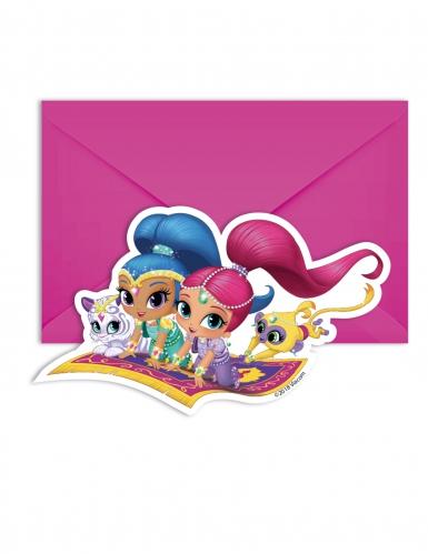 6 Inviti di compleanno con busta Shimmer and Shine™ 14 x 9 cm