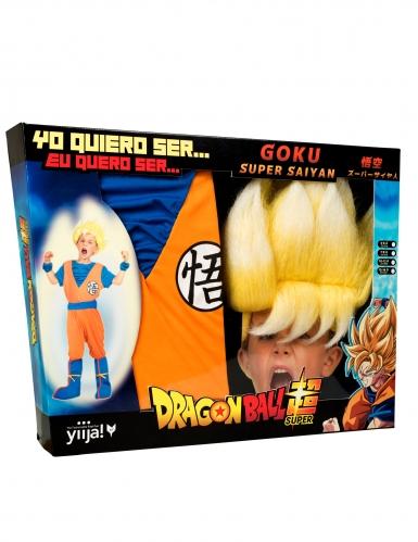 Cofanetto costume Goku Super Sayan Dragon Ball™ bambino con parrucca-3