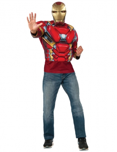 Maglia con muscoli e maschera Iron Man™ Captain America Civil War™ Adulto