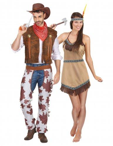 Costume coppia cowboy e indiana per adulti