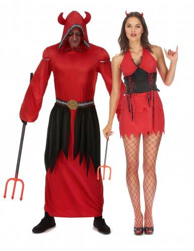 Costume di coppia diavoli rossi per adulti