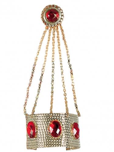 Braccialetto con anello dorato e pietre rosse donna