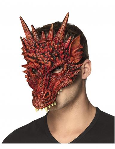 Mezza Maschera drago rosso per adulto