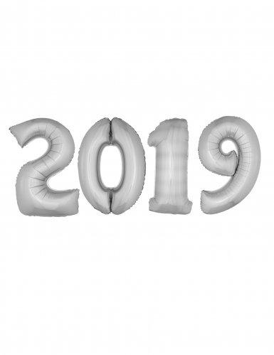 Set Capodanno 2019 Palloncini Giganti in alluminio argento