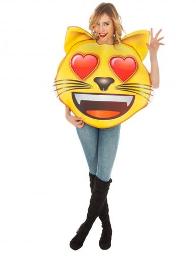Costume Emoji™ Gatto con occhi a cuore per adulto