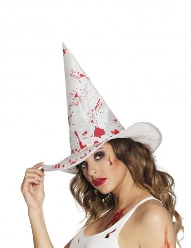 Cappello strega bianco insanguinato adulto