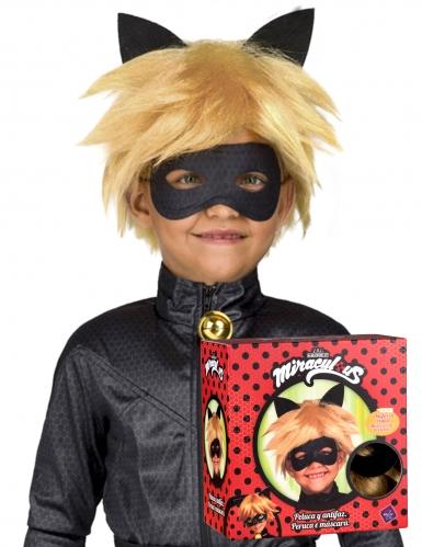 Cofanetto parrucca e maschera di Chat Noir Miraculous™ per bambino