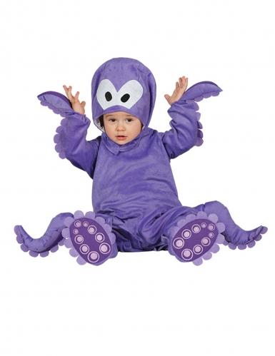 Costume tuta con cappuccio polpo viola neonato