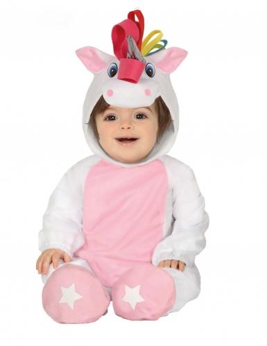 Costume tutina con cappuccio unicorno bianco neonato