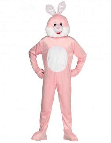 Costume tuta mascotte coniglio rosa adulto