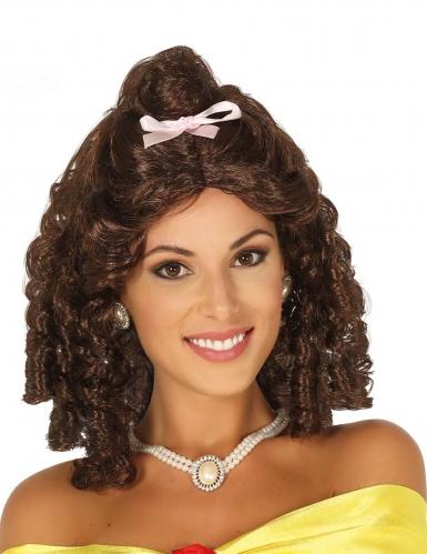Parrucca bruna con boccoli e nastrino rosa