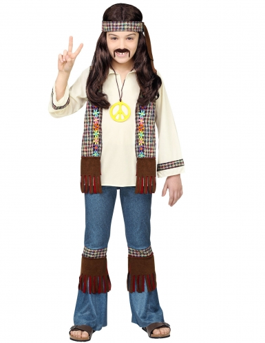 Costume hippie peace marrone per bambino