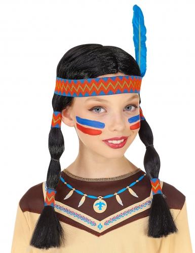 Parrucca indiana con trecce e fascia bambina