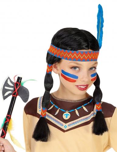 Parrucca indiana con trecce e fascia bambina-1