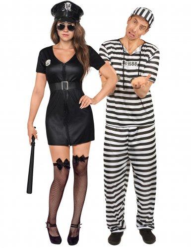 Costume di coppia poliziotta e prigioniero adulti