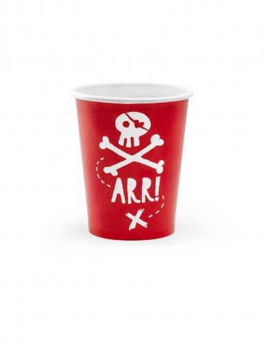6 bicchieri rossi in cartone festa dei pirati 220 ml