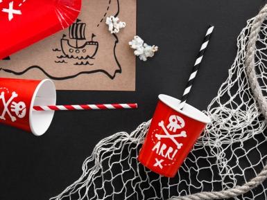 6 bicchieri rossi in cartone festa dei pirati 220 ml-1