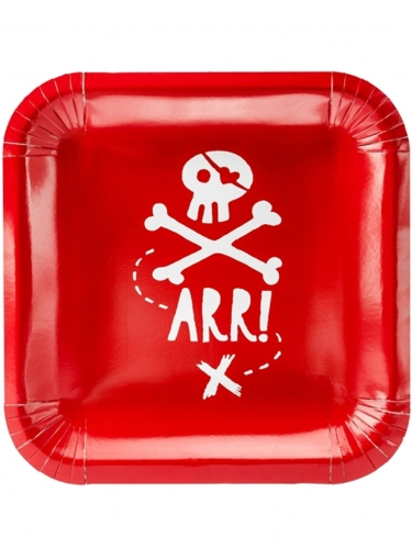 6 Piatti rossi in cartone festa dei pirati 20 cm