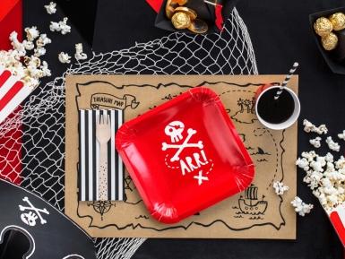6 Piatti rossi in cartone festa dei pirati 20 cm-1