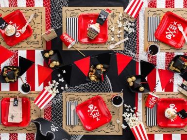 6 Piatti rossi in cartone festa dei pirati 20 cm-2