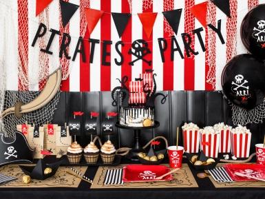6 Piatti rossi in cartone festa dei pirati 20 cm-3
