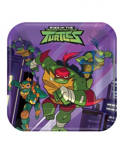 8 Piatti piccoli quadrati Tartarughe Ninja™ 18 cm