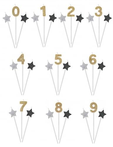 3 candele di compleanno numero dorato e stelle 16 cm