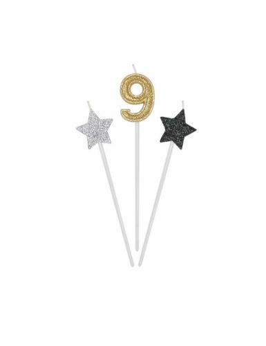 3 candele di compleanno numero dorato e stelle 16 cm-9